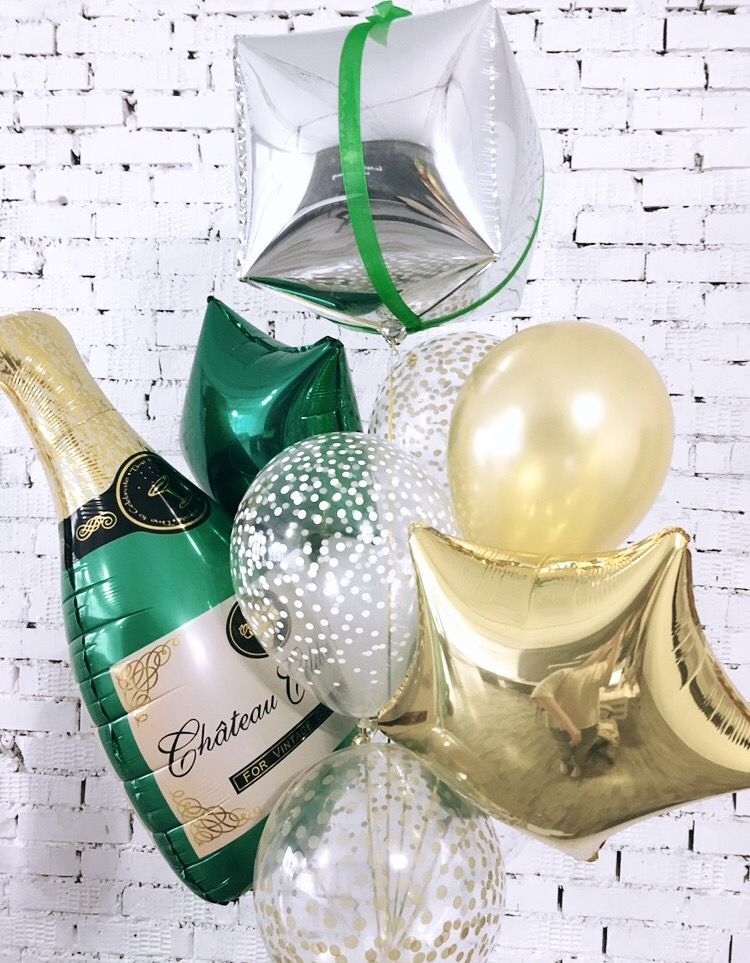 big champagne bottle balloons bouquet with Mylar and latex