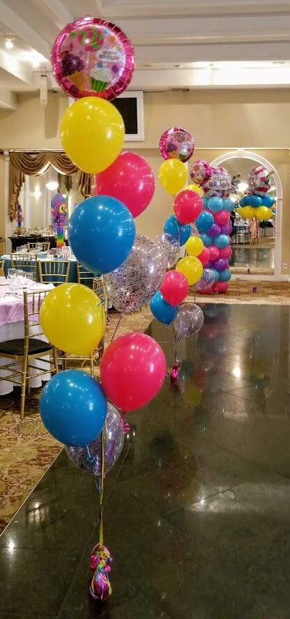 candy theme party birthday mix color latex and Mylar balloons floor centerpiece