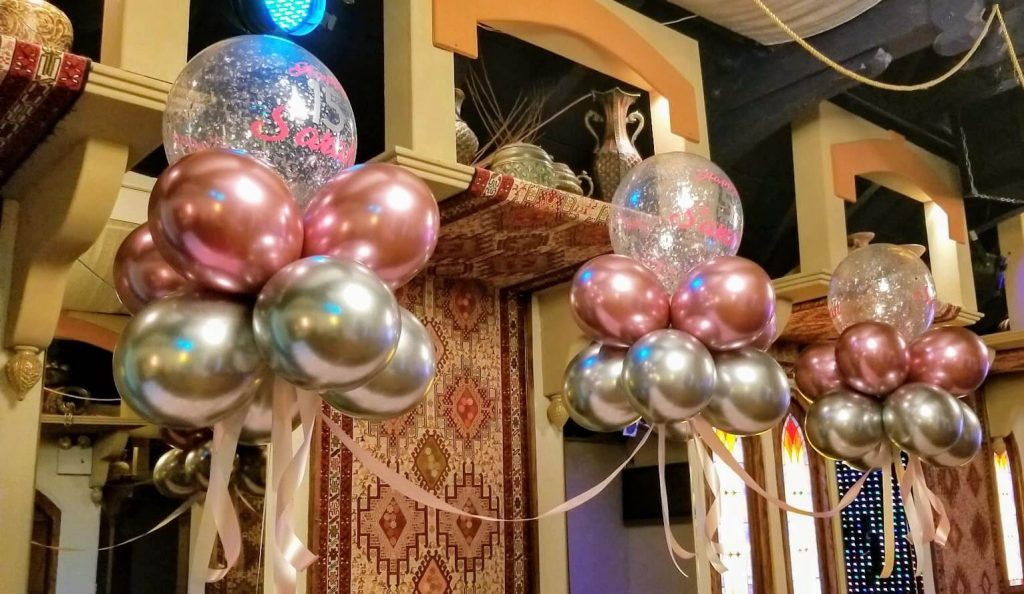 chrome pink chrome silver and clear with silver confetti balloons arch for sweet 16 girl birthday party