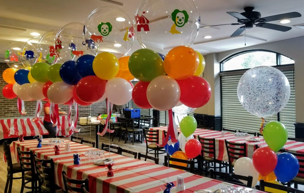 clear personalized circus theme party confetti balloons centerpieces