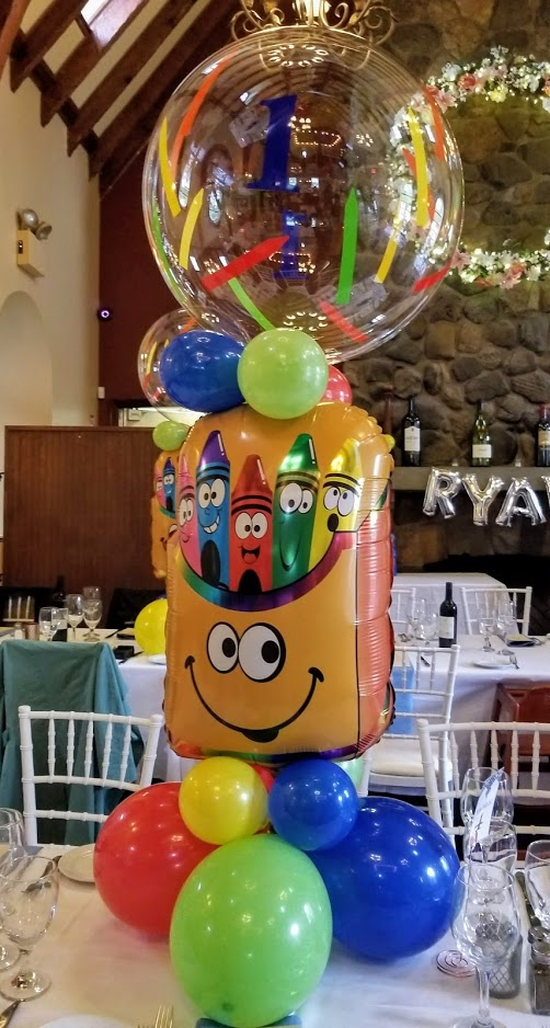 Creon theme centerpieces baby boy 1st birthday balloons