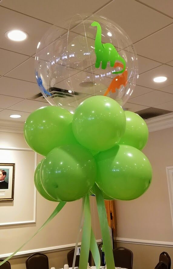 big round clear dinosaur theme 1st birthday balloons centerpiece