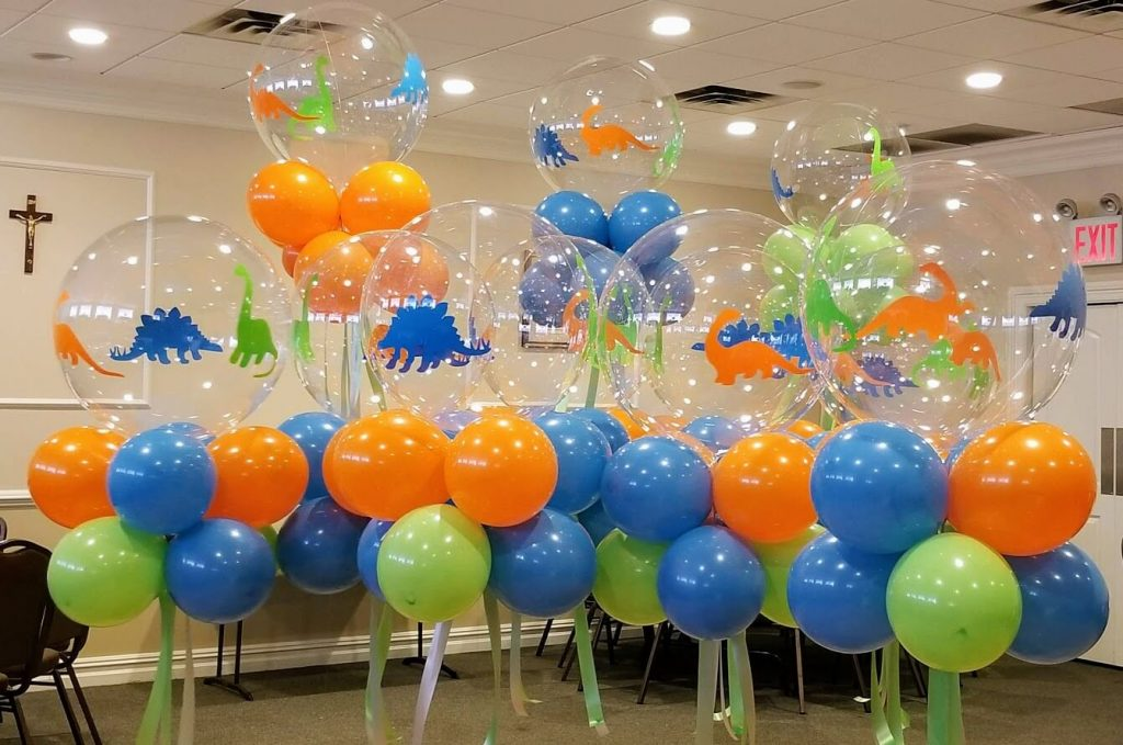 big round clear dinosaur theme 1st birthday balloons centerpieces