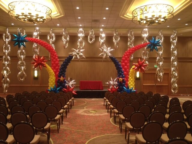 fireworks balloons arch with Mylar big silver chain links