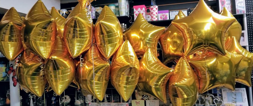 "gold star 18"" Mylar balloons for a baby shower"