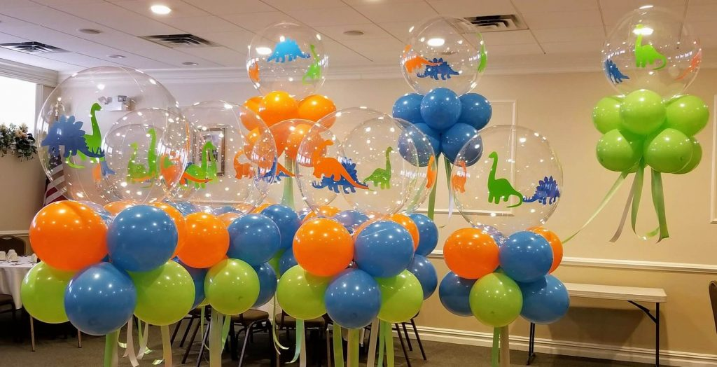 big round clear dinosaur theme 1st birthday balloons