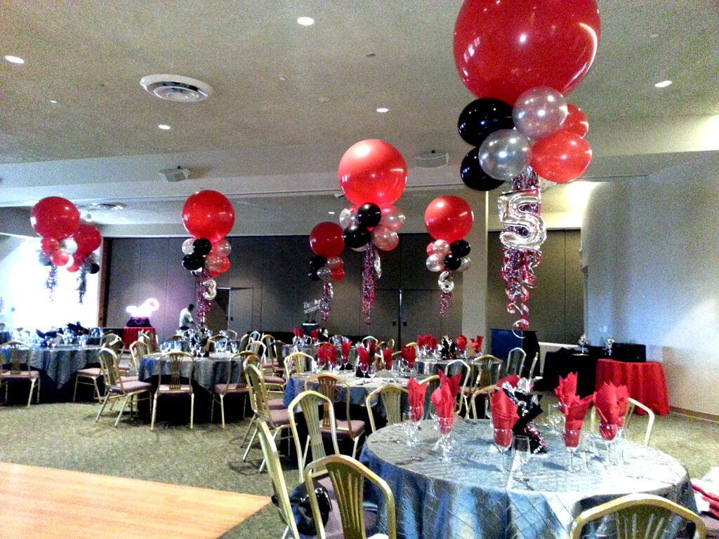 mini silver number balloons with big round red balloons and mini balloons