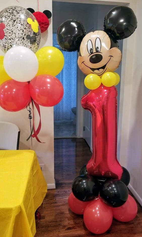 minnie and Mickey mouse number balloons 1st birthday balloons