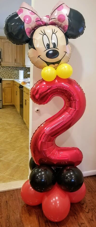 minnie and Mickey mouse number balloons 2nd birthday red balloons