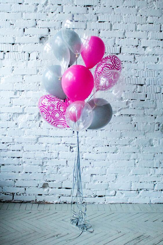 gray bright pink clear with printed mylar birthay balloons