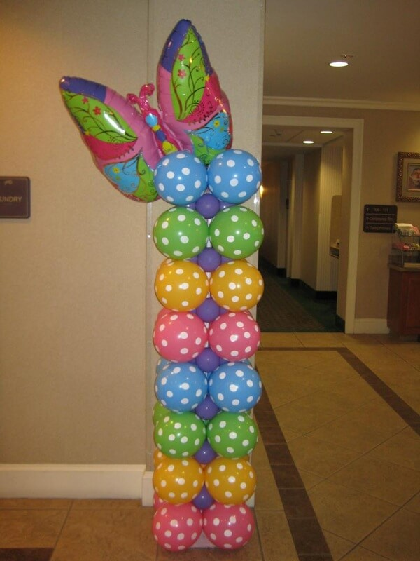 mix colors polka dot latex balloons column with a butterfly for a birthday or any party