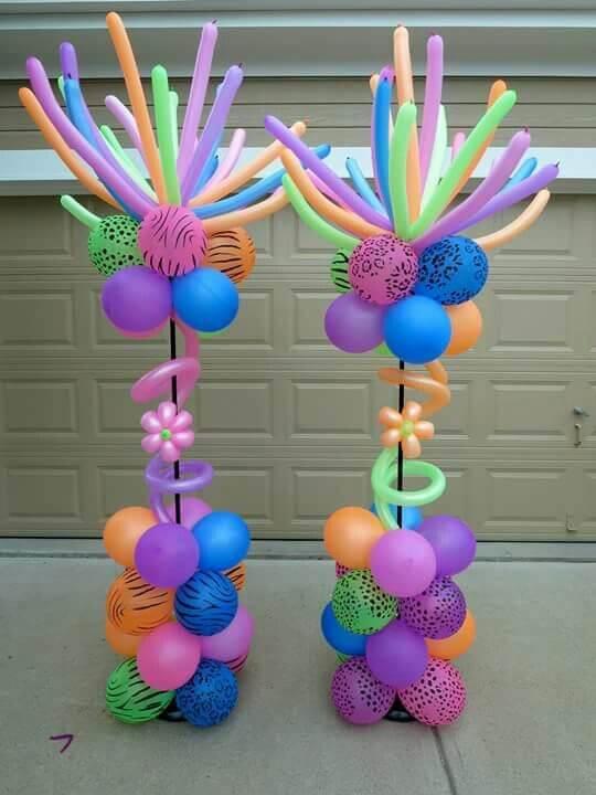 neon balloons column
