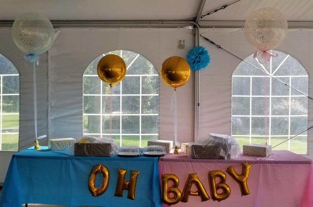 16 inch oh baby gold balloons letters phrase on the string