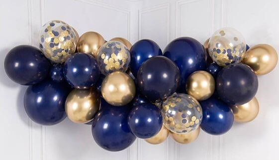 blue balloons garland with confetti chrome gold and blue latex balloons