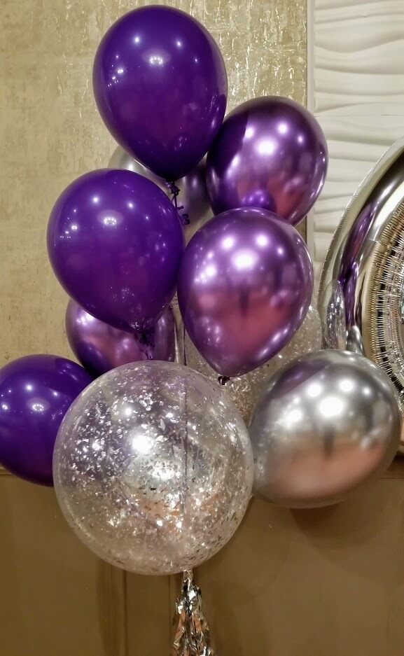 silver tassel chrome purple metallic latex silver silver confetti balloons floor bouquet anniversary or birthday