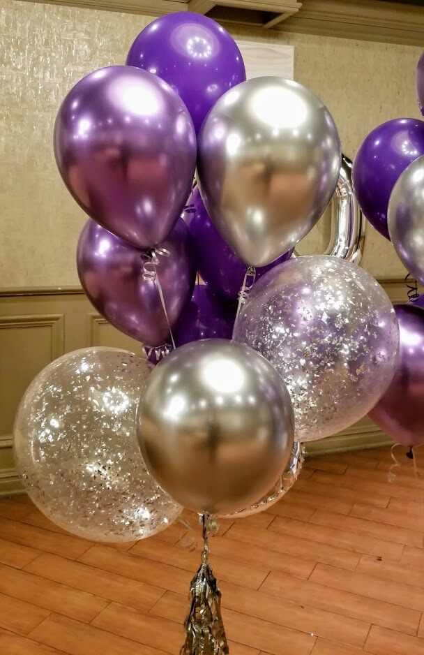 chrome purple lavender metallic latex silver silver confetti balloons bouquet anniversary or birthday