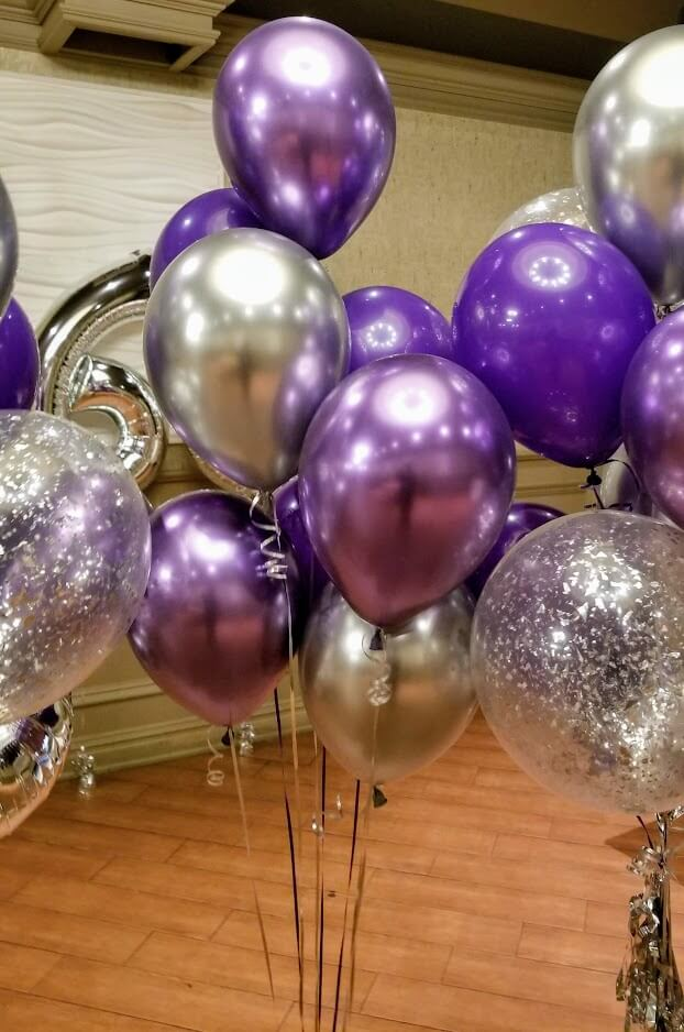 chrome purple lavender metallic latex silver confetti balloons centerpieces anniversary or birthday