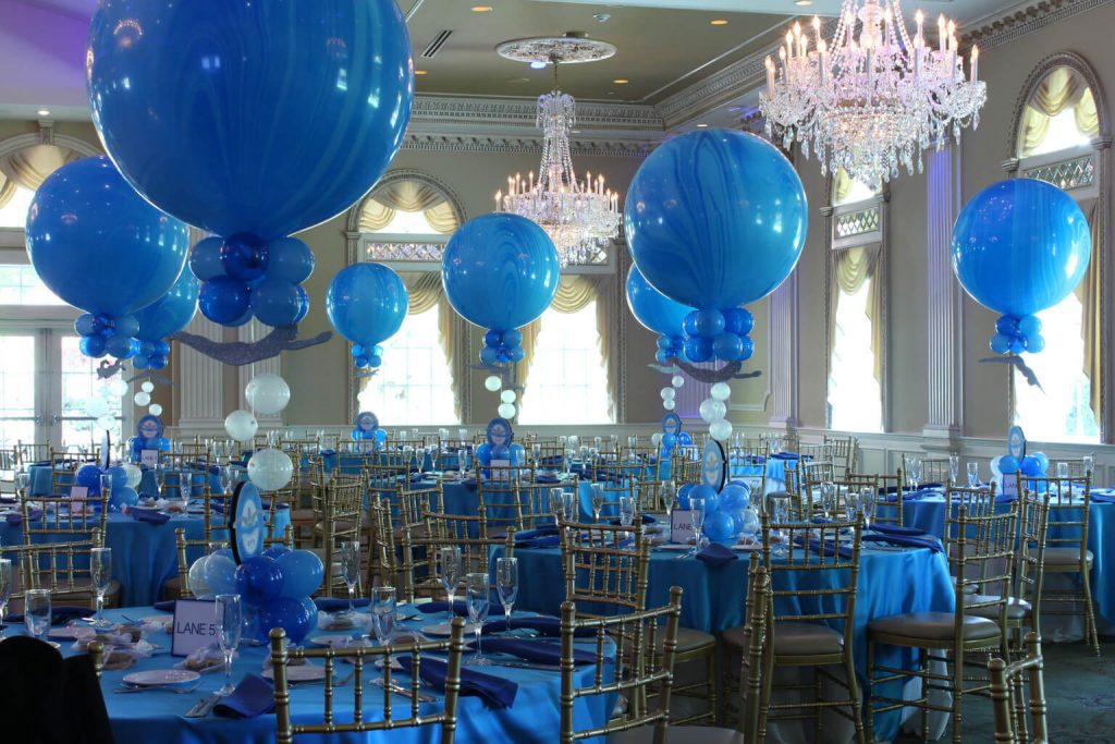 round big marble blue balloons centerpieces bar mitzvah