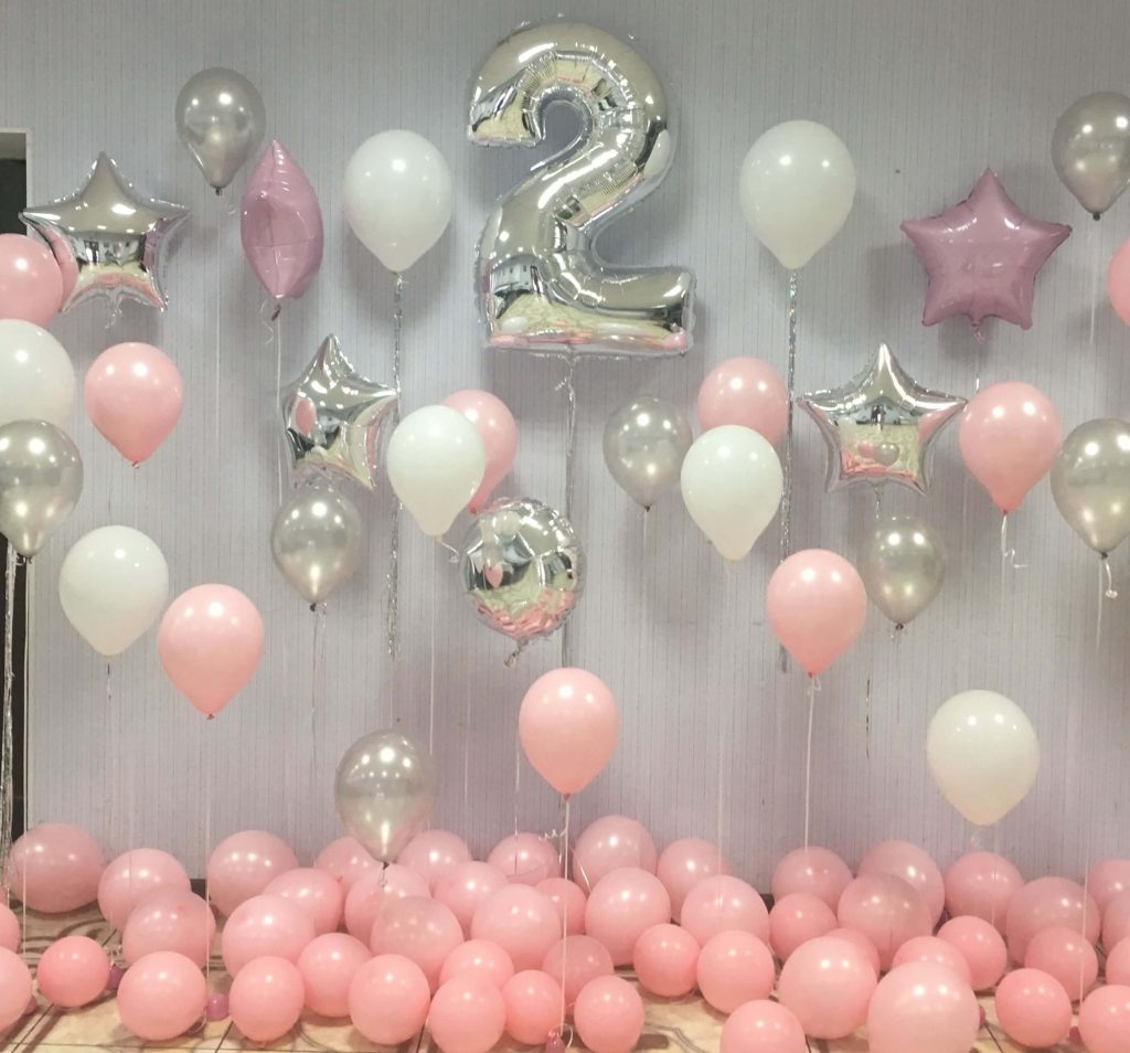 2nd birthday balloons for girl with pink white and silver latex balloons