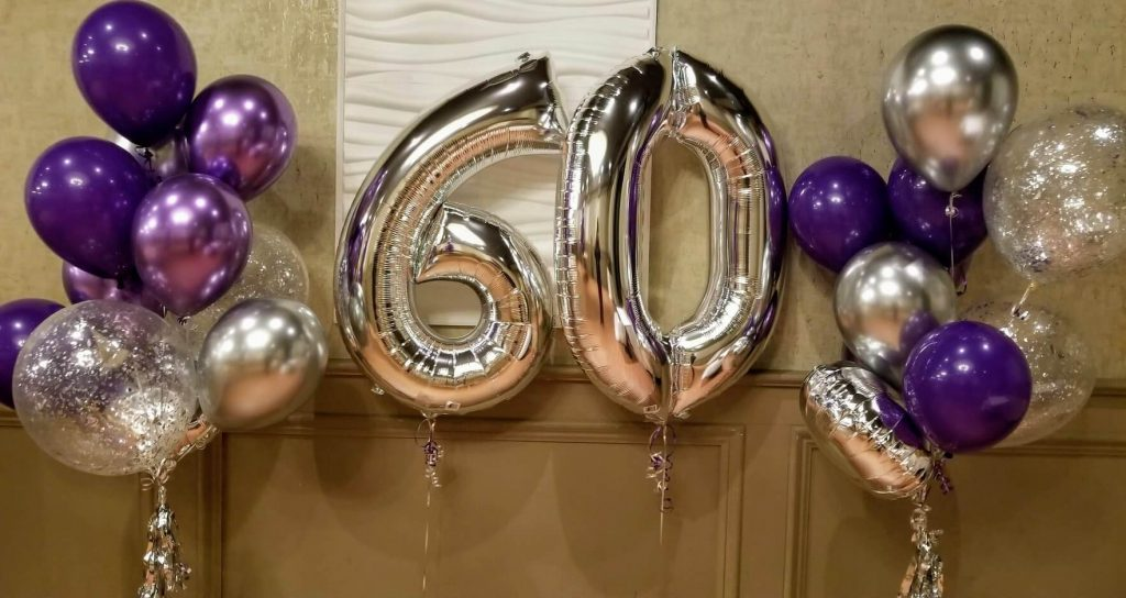 silver big number 60th birthday balloons with chrome purple silver-lavender latex and confetti balloons