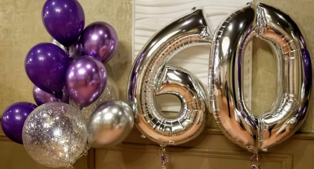 silver big number 60th birthday balloons with chrome purple silver lavender and confetti balloons