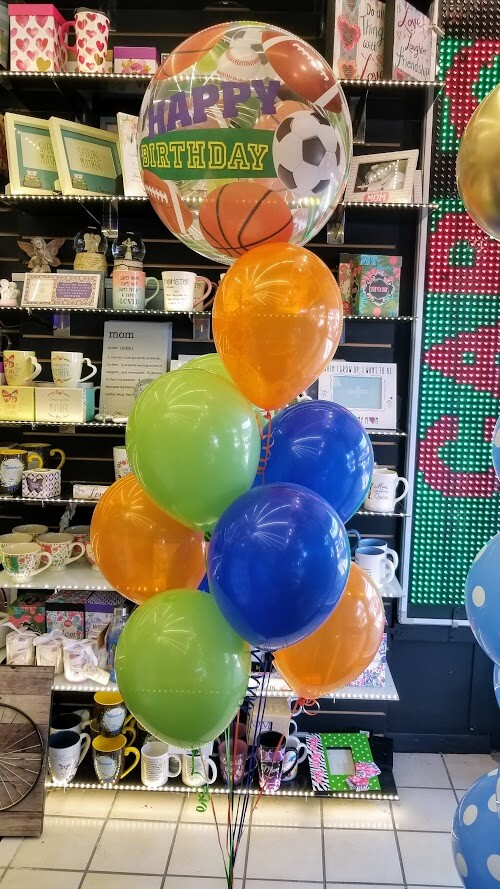 orange blue green latex balloons bouquet with sports bubble clear balloon with weight