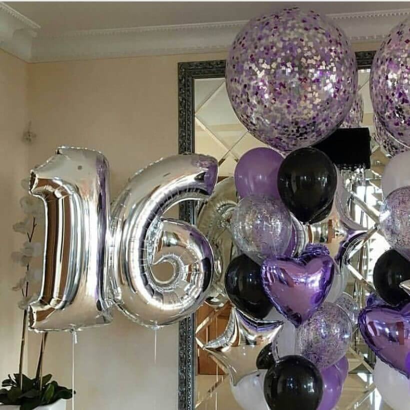 silver sweet 18 purple balloons birthday bouquet with latex balloons