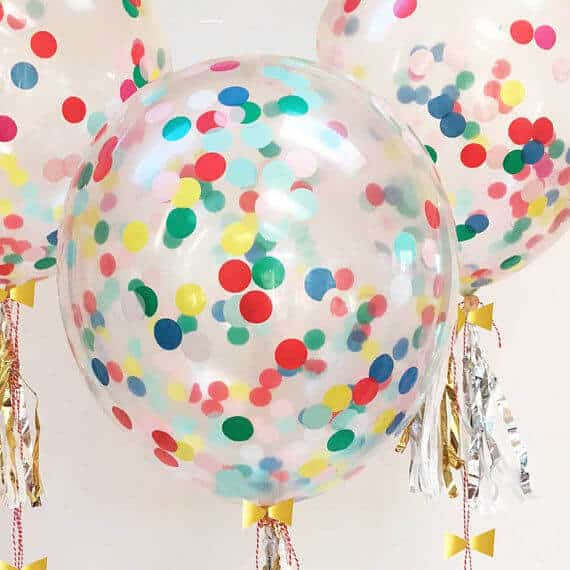colorful confetti helium balloons