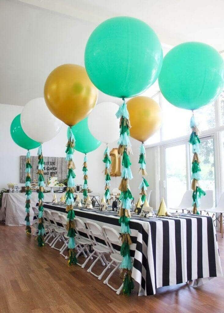 Mint Green White Gold Latex Balloons