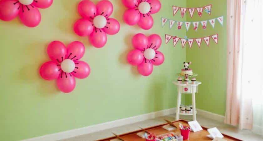girl birthday balloons pink green balloon decoration
