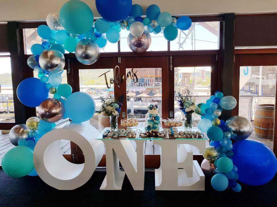baby boy first birthday Balloons Half Arch