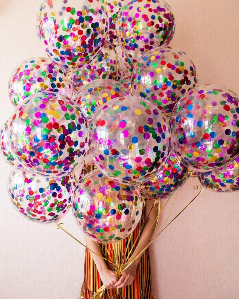 Confetti Chrome Glitter Balloons 10