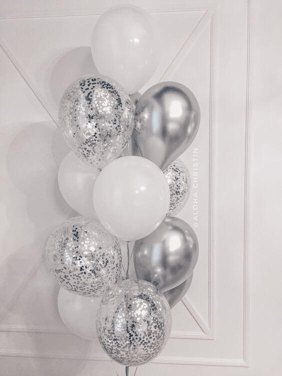 Confetti Chrome Glitter Balloons 16