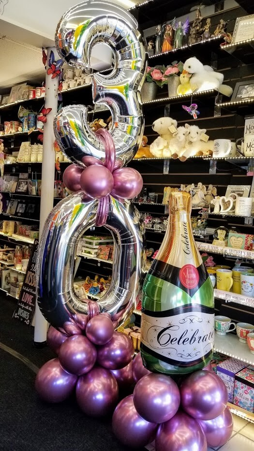 30th birthday balloons in big silver number balloons 34 inch with 12 inch chrome balloons