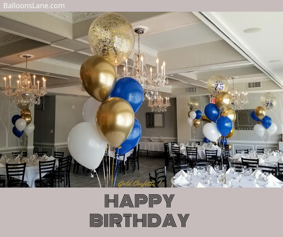 gold confetti balloons centerpiece for birthday
