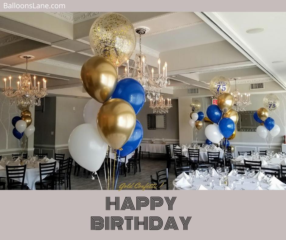 gold confetti balloons centerpiece for birthday