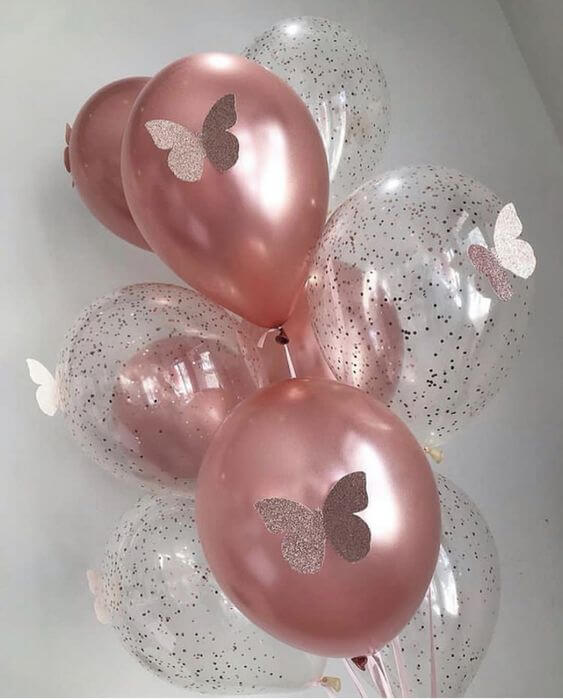 chrome rose gold balloon with rose gold confetti balloons for birthday butterfly theme balloons