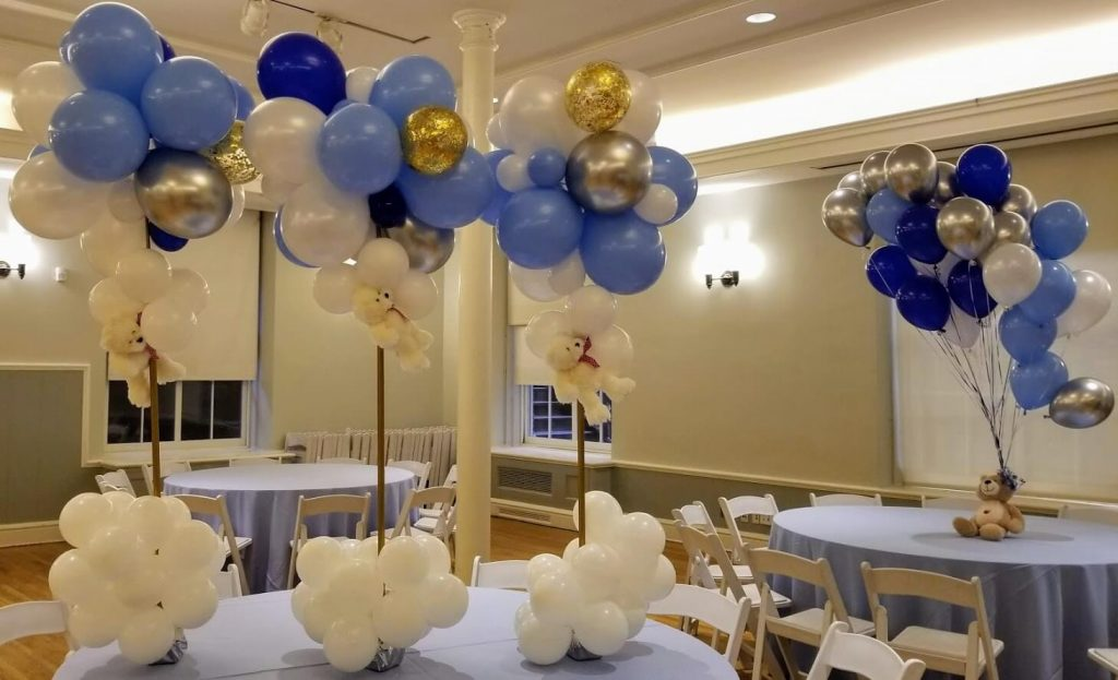 baby boy first birthday balloons cloud theme