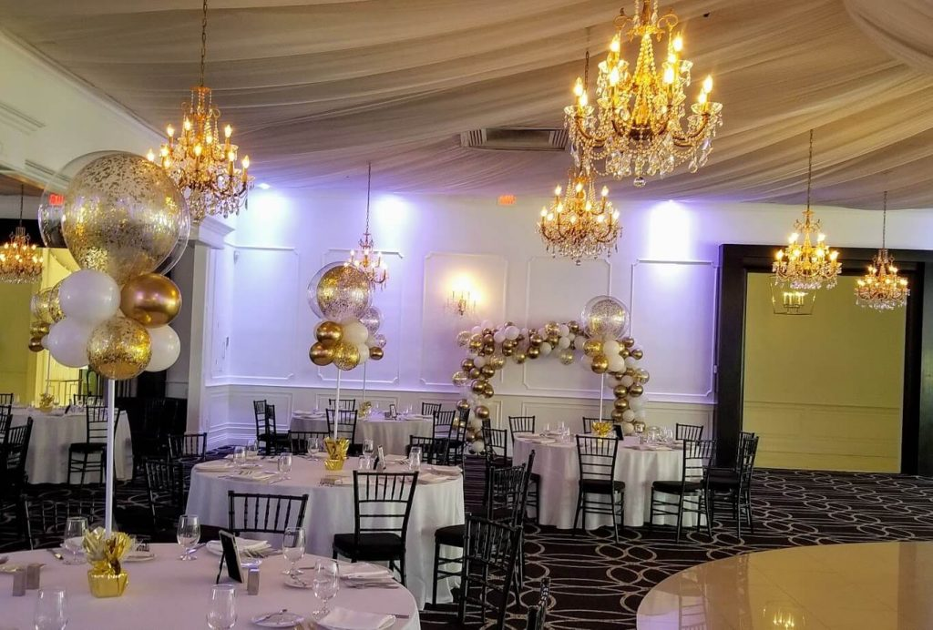 chrome gold and white centerpieces for bar mitzvah
