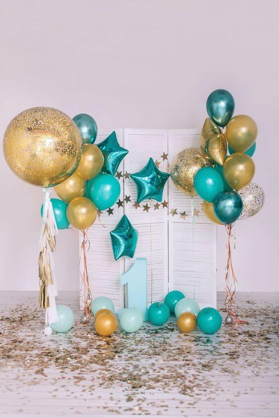 baby first firthday balloons in dark green mint green chrome gold and confetti balloons Brooklyn NY