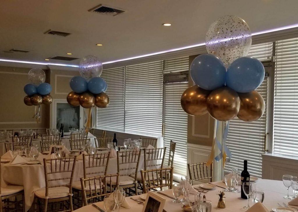 light blue chrome gold and 16 inch clear gold confetti balloon prom NY