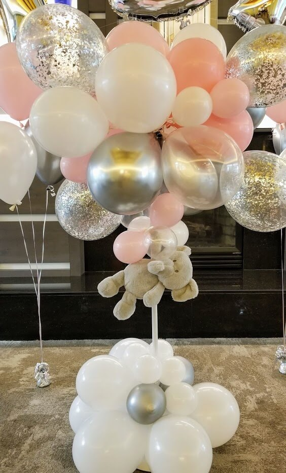 mini cloud balloon stand centerpiece for baby shower