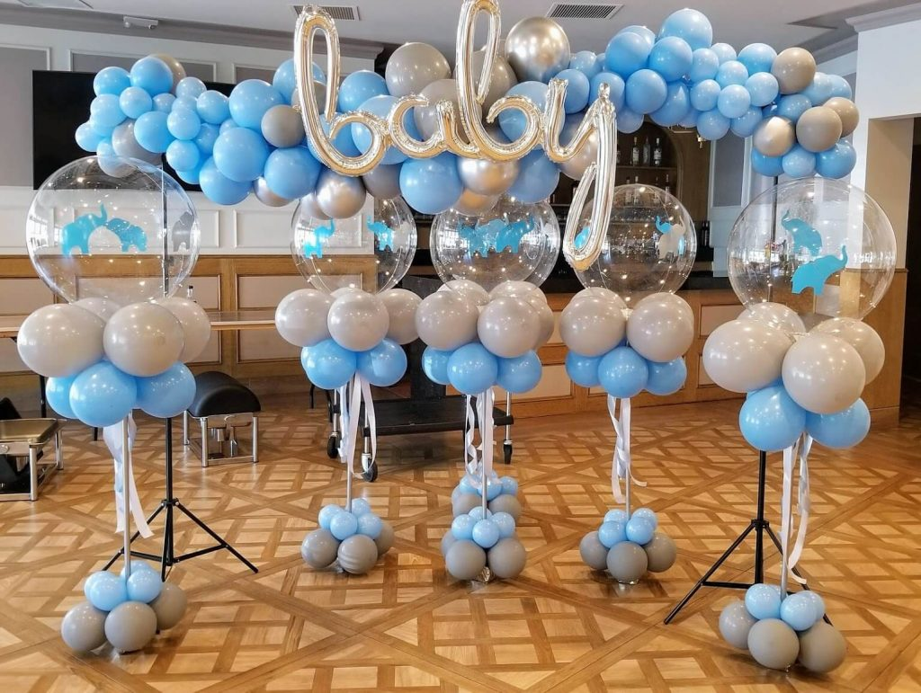 baby shower balloons light blue and gray latex balloons Staten Island