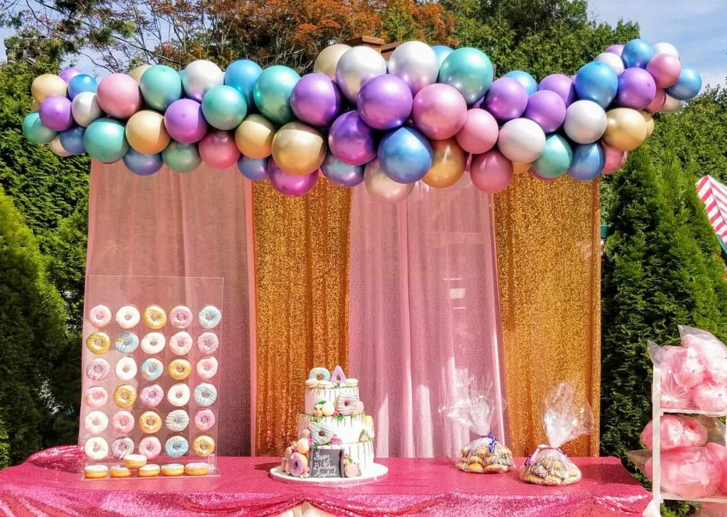 chrome balloons garland arch for prom