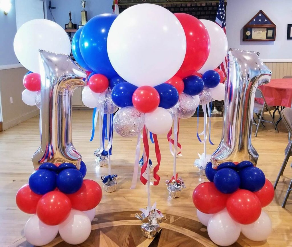 big number one silver balloons column for red white and blue theme birthday balloons
