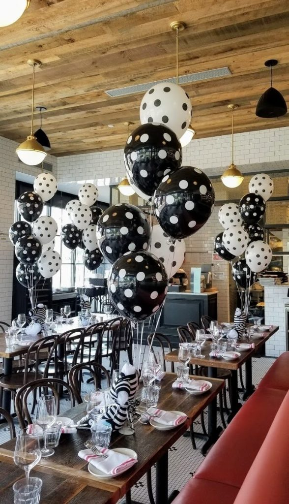 black and white polka dot baby shower