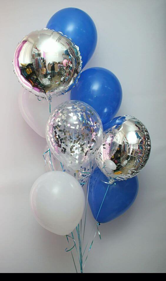 white blue and silver balloons bouquet for prom