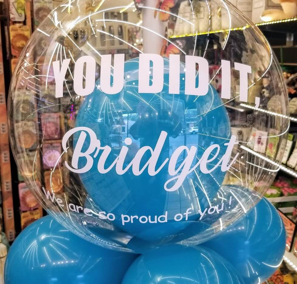 clear bubble balloons personalize for graduation Staten Island NY