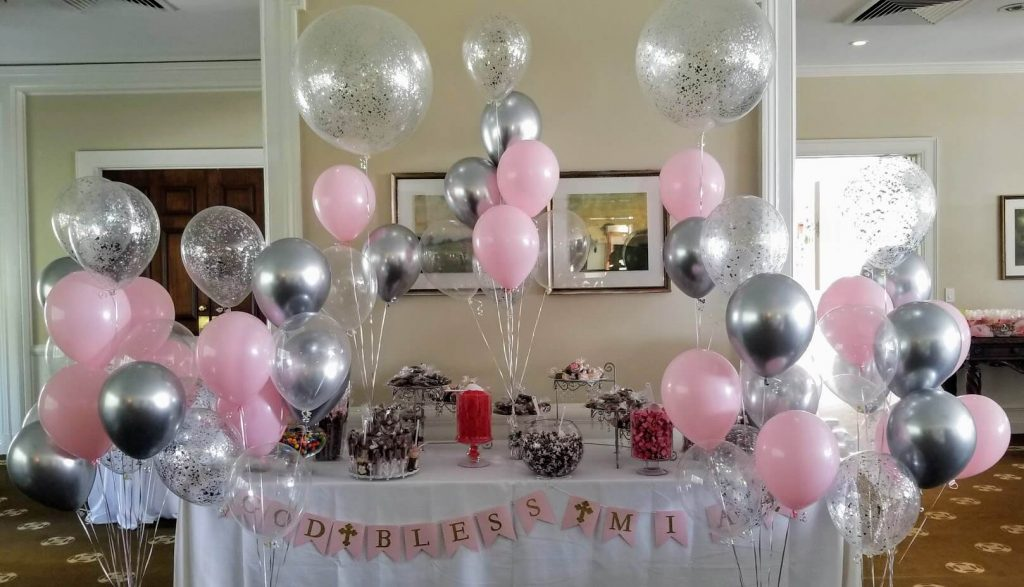 christening balloons table decoration