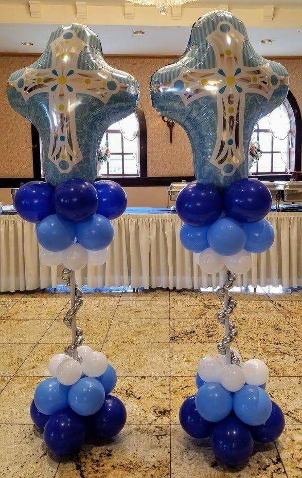 Communion or christening big cross Mylar balloon floor column